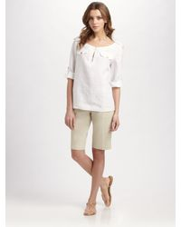 Tory Burch | Green Katie Bermuda Shorts | Lyst