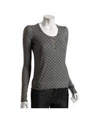 Gucci | Gray Grey Gg Printed Cashmere Scoop Neck Sweater | Lyst