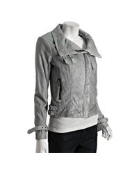MICHAEL Michael Kors | Blue-grey Distressed Leather Asymmetrical Zip Jacket | Lyst