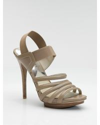 MICHAEL Michael Kors | Brown Leather & Elastic Strap Sandals | Lyst