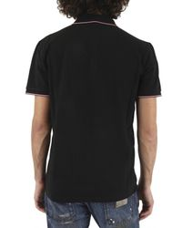 Moncler | Black Front Logo Piquet Polo for Men | Lyst