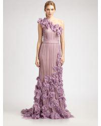 Tadashi Shoji   Purple Flower Detail One Shoulder Gown   Lyst