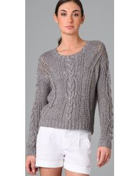 Vince | Gray Cable Crop Sweater in Grey | Lyst