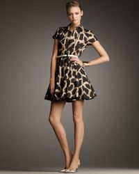 Giambattista Valli | Brown Giraffe Print Shirtdress | Lyst