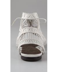 Joie - White Leo Strippy Flat Sandals - Lyst