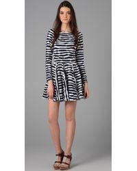 Thread Social | Blue Raglan Sleeve Dress with Cutout Back | Lyst