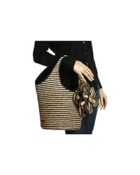 kate spade new york | Natural Striped Straw Tote | Lyst
