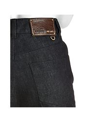 Prada - Dark Blue Raw Denim Flare Leg Jeans - Lyst