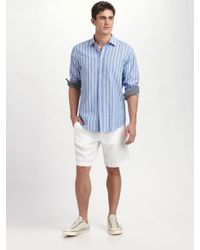 Zegna Sport - Blue Striped Cotton/linen Sportshirt for Men - Lyst