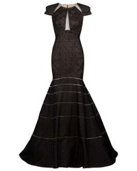 Angel Sanchez | Black Embroidered Cutout Trumpet Gown | Lyst