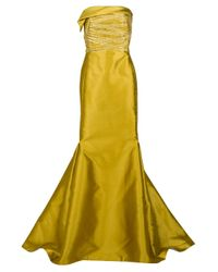 Angel Sanchez | Yellow Strapless Trumpet Gown with Cross Ribbon Bodice | Lyst