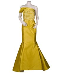 Angel Sanchez - Yellow Strapless Trumpet Gown with Cross Ribbon Bodice - Lyst