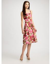 Lafayette 148 New York | Pink Lorie Pleated Floral Dress | Lyst