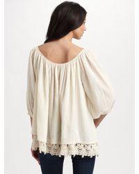 Love Sam   White Crochet Hem Shirt   Lyst