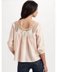 Love Sam | Pink Crochet Yoke Top | Lyst
