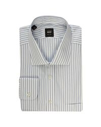 Ike Behar | Gray Black Label White and Blue Striped Spread Collar Dress Shirt for Men | Lyst