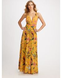 Leifsdottir | Orange Long Floral-print Silk Dress | Lyst