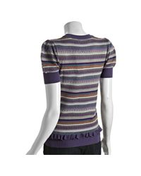 Marc By Marc Jacobs - Purple Knit Striped Ruffle Detail Short Sleeve Sweater - Lyst