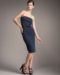 Prada | Blue Strapless Denim Dress | Lyst