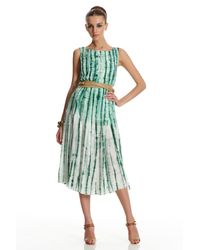 Oscar de la Renta | Green Sleeveless Pleated Dress | Lyst