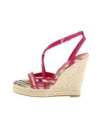 Burberry - Pink Haymarket Colour Trim Espadrille - Lyst