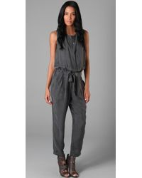 DKNY | Gray Sleeveless Jumpsuit | Lyst