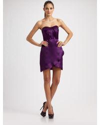 Kara Janx | Purple Silk Bustier Mini Dress | Lyst