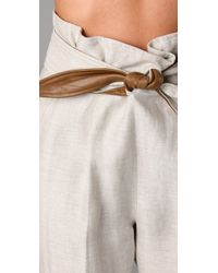 Tibi - White Capri Pants with Leather - Lyst