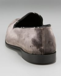 Barker Black - Gray Bone Velvet Slipper for Men - Lyst