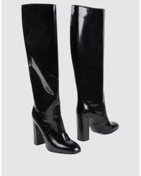 Bottega Veneta | Black Patent-Leather Knee-High Boots | Lyst