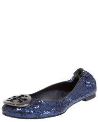Tory Burch | Blue Reva Glitter Ballerina Flat | Lyst