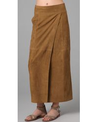 Vince | Brown Suede Maxi Wrap Skirt | Lyst