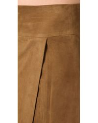 Vince - Brown Suede Maxi Wrap Skirt - Lyst