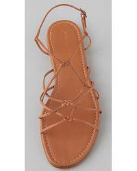 Sigerson Morrison - Brown Knotted Crisscross Flat Sandals - Lyst