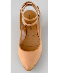 Sigerson Morrison | Brown Pointy Flats with Double Ankle Straps | Lyst