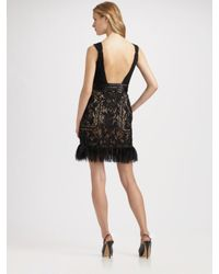 Sue Wong - Natural Beaded Feather Hem Dress - Lyst
