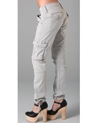 True Religion | Gray Vanessa Loose Cargo Pants | Lyst