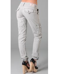 True Religion - Gray Vanessa Loose Cargo Pants - Lyst