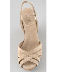 UGG | Natural Violet Suede Wedge Sandals | Lyst