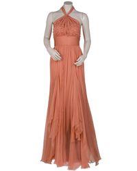Eastland | Orange Chiffon Beaded Halter Gown | Lyst