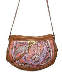 Etro - Brown Printed Leather Shoulder Bag - Lyst
