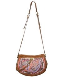 Etro - Brown Printed Leather Shoulder Bag - Lyst