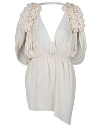 Designers Remix | Natural Lolaa Ruffle Shoulder Dress | Lyst