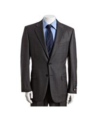 Joseph Abboud - Gray Grey Plaid Check Super 120s Loro Piana Wool 2-button Suit with Single Pleated Pants for Men - Lyst