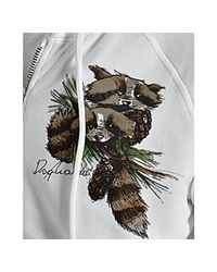 DSquared² - White Cotton Raccoon Print Zip Hoodie for Men - Lyst
