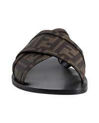 Fendi | Brown Zucca Spalmati Canvas Sandals for Men | Lyst