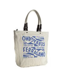 Ferragamo | White Ivory Logo Print Canvas Tote Bag for Men | Lyst
