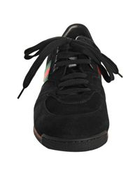 Gucci - Black Suede Web Striped Sneakers for Men - Lyst