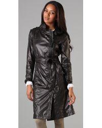 Mackage - Black Long Rain Jacket with Hidden Hood - Lyst