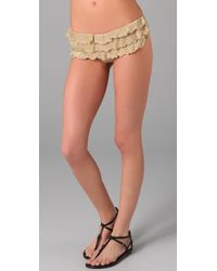 OndadeMar | Metallic Solid Ruffle Bikini Bottoms | Lyst